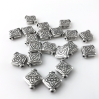 40 Tibetan Silver 10mm Spacer Beads